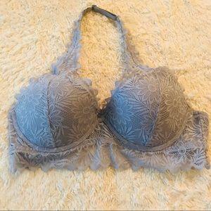 PINK Victoria's Secret Gray Lace Halter Bralette